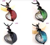Wholesale Twist Lampwork - colorful Bicolor twist Knob Heart Murano Lampwork Art Glass Pendant Necklace p580-83
