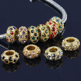 Wholesale Rondelle Spacer Round Mixed - 100 Pcs Metal Gold Plated Mixed Color Crystal Rhinestone European Big Hole Rondelle Spacer Beads Fit Charms Bracelets Jewelry Findings