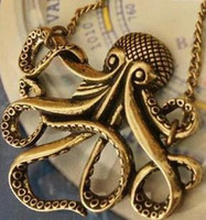 Wholesale Vintage Octopus Pendant - Hot Women's Fashion Vintage Copper Octopus Pendant Necklace