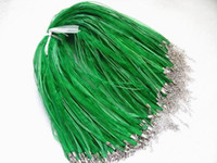 "Wholesale Green Silk Cord Necklace - Free shipping 100pcs lot Green Silk Organza Ribbon Necklace Strap Cord Chain 18""DIY HOT Sale"