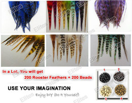 Ingrosso Queen Hair 5 - 7 pollici Grizzly Gallo Feather Extension per capelli 200pc Feathers Extensions + 200 Beads SRF003