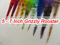 Wholesale Grizzly Rooster Feathers Wholesale - 5 - 7 Inch Grizzly Rooster Feather Hair Extension 200pc Feathers Extensions + 200 Beads SRF002