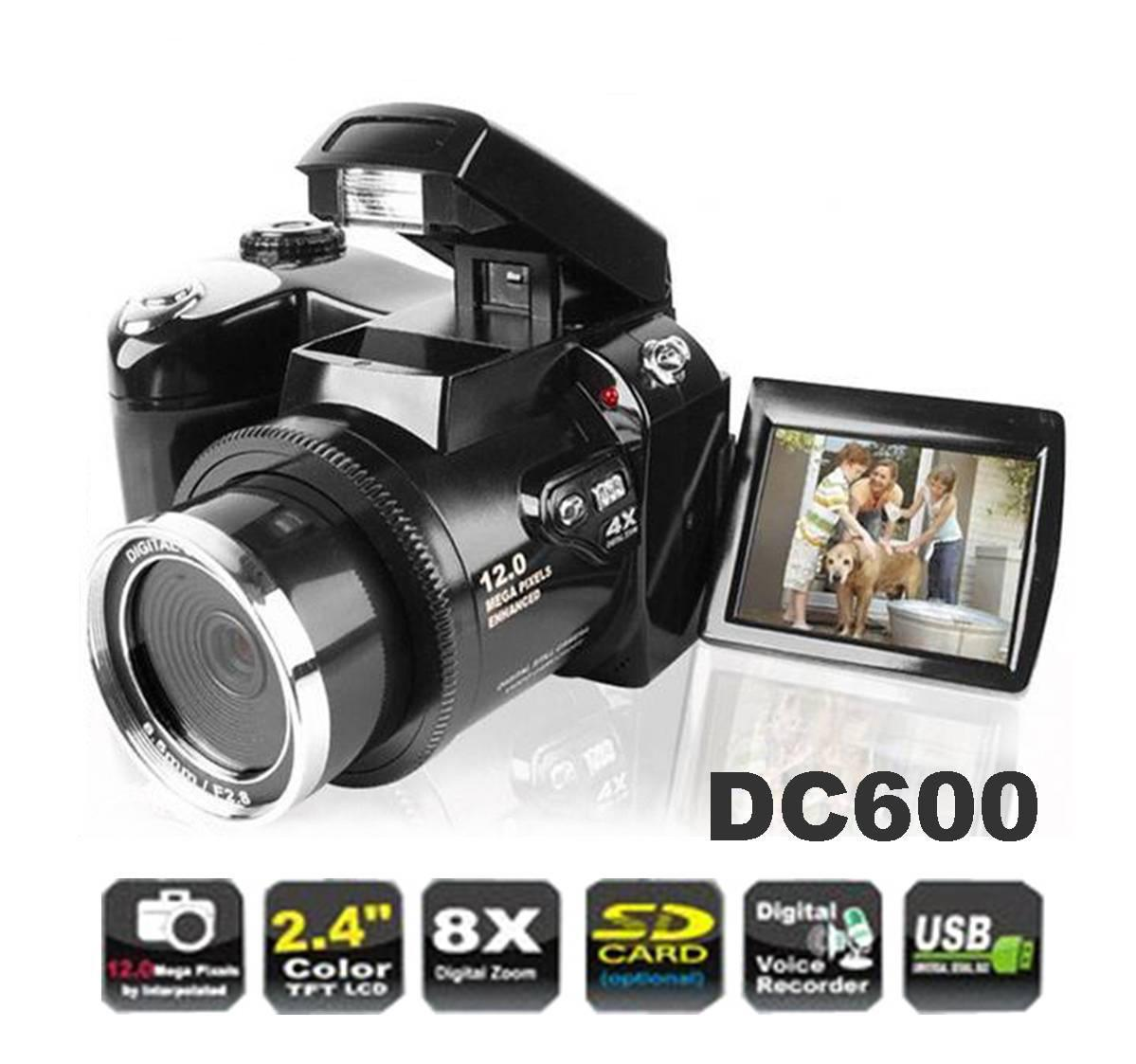 Digital Camera Video Camcorder DC600 2.4'' LCD 12MP 8X Digital Zoom Dual Power Supply