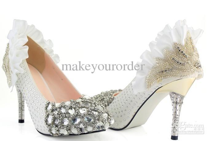 white diamond silk party shoes wedding dress high heel shoes