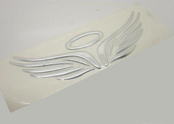 FedEx 3Dステッカーシルバーエンジェルウィング接着剤ビニールステッカー小飛ぶ車のラベルによる送料無料