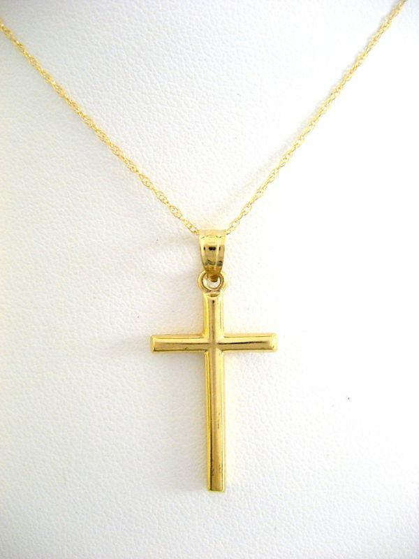 Wholesale 14k solid yellow gold cross necklace pendant 18 chain cute wholesale 14k solid yellow gold cross necklace pendant 18 chain cute pendant necklaces diamond heart pendant necklace from jierikuaile121 6232 dhgate aloadofball Choice Image