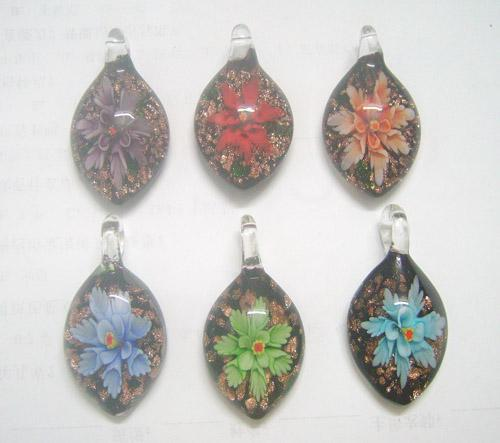 10 stks / partij Multicolor Murano Lampwork Glas Hangers Medaillons Voor DIY Craft Sieraden Ketting Hanger Gift PG11