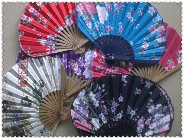 Portable Fancy Folding Silk Cloth Fan Crafts Prezenty Dorosłych Japońskich Wentylatory Dance 10 sztuk / partia