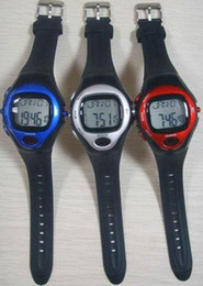 Wholesale Digital Monitor Calories - 10pcs lot Pulse Heart Rate Monitor Calorie Counter Fitness Sport Exercise Wrist Watch Blue Red Silver Wristwatches