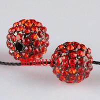 12mm strass ball perlen großhandel-10MM / 12MM rote Kristalldisko-Kugeln, Gewehr-Metallschwarzes überzogene Rhinestone-lose Korne 30PCS