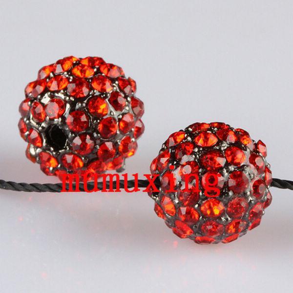 10MM / 12MM rote Kristalldisko-Kugeln, Gewehr-Metallschwarzes überzogene Rhinestone-lose Korne 30PCS