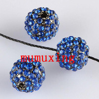 10MM / 12MM Blue Crystal Disco Balls, Gun Metal noir plaqué perle strass Loose Beads