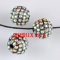 10MM / 12MM Crystal AB Balls, Metal Gun Preto Plated Pave strass Loose Beads