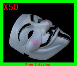 Wholesale Vendetta Dhl - 500pcs Free DHL High Quality Free shipping HOT Halloween mask V For Vendetta mask for costume party performance mask