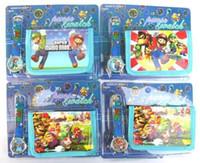 Wholesale Mario Wallets - New Popular 10 sets MARIO Cartoon Watches And Wallet Sets