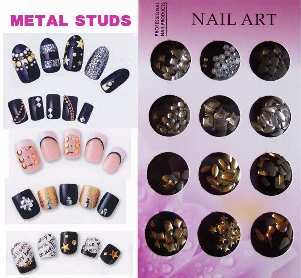 See larger image - Gold / Silver Metal Studs Nail Art Decoration Nail Decorations