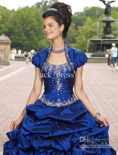 Ball gown Sapphire blue Floor length Beaded Quinceanera Dresses GownsSapphire Blue Ball Gowns