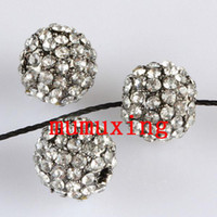 10MM / 12MM Clear Crystal Disco Balls, Gun Metal Black Plated Pavé Rhinestone Loose Beads Jewelry Findings