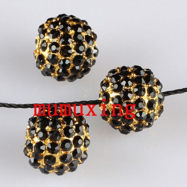 10MM/12MM Black Crystal Disco Balls Loose Spacer Bead, Golden Pave Rhinestone Metal Bead
