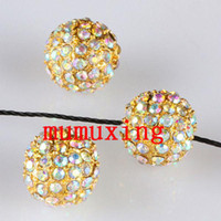 10MM / 12MM Crystal AB Disco Balls Loose Spacer Bead, Golden Pave Rhinestone Metal Bead
