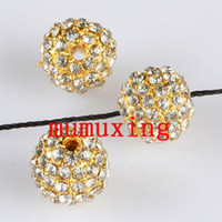 Wholesale disco ball metals - 10MM 12MM Clear Crystal Disco Balls Loose Spacer Bead, Golden Pave Rhinestone Metal Beads Jewelry Findings