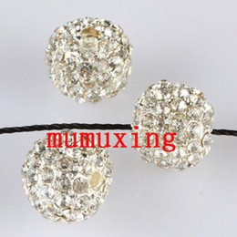 Wholesale Crystal Pave Balls Wholesale - 10MM 12MM Clear Crystal Ball Loose Spacer Beads, Silver Plated Pave Rhinestone Metal Balls Jewelry Findings