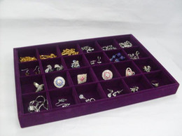Wholesale Wholesale Wooden Displays - Free Shipping 4 Purple Velvet 24 Slot Jewelry Ring Organizer Display Box Tray Holder Stand Showcase