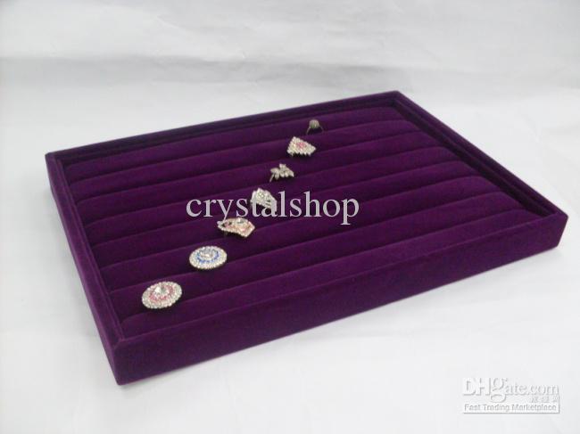 Fashion 4 purple velvet ring jewelry organizer display box for Velvet jewelry organizer trays