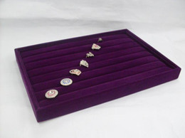 Wholesale Wooden Rings Fashion - Free Shipping Fashion 4 Purple Velvet Ring Jewelry Organizer Display Box Tray Holder Show Case Stand