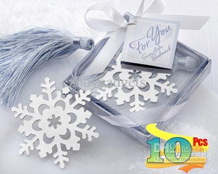 Snowflake Bookmark Wedding Favors Winter Themed Wedding Ice Blue