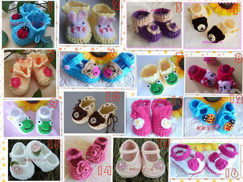 Multi Stile häkeln Handarbeit stricken Baby Booties / Schuhe Neugeborenen Schuhe Kleinkind Baumwolle Garn 0-12M