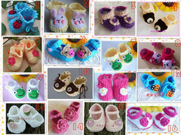 Wholesale Yarn Baby Shoes Booties - Multi styles Crochet handmade knit Baby Booties   shoes newborn shoes toddler cotton yarn 0-12M