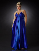 Wholesale Sapphire Blue Evening Gown - 2015 Elegant Sapphire Evening Dresses Blue Halter Ruched Satin Empire Plus-Size Evening Bridesmaid Maternity Dress Formal Prom Gowns PS1100