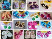 ingrosso calzature scarpette neonate-Neonate NEWBORN Mary Janes Scarpe Stivaletti fatti a mano all'uncinetto Crema rosa NOVITÀ