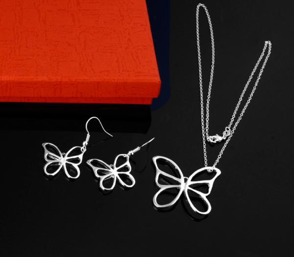 top popular Wholesale - lowest price Christmas gift 925 Sterling Silver Fashion Necklace+Earrings set S09 2020