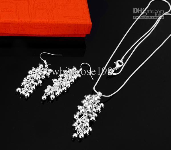 Groothandel - laagste prijs kerstcadeau 925 Sterling zilveren mode ketting + oorbellen set S11