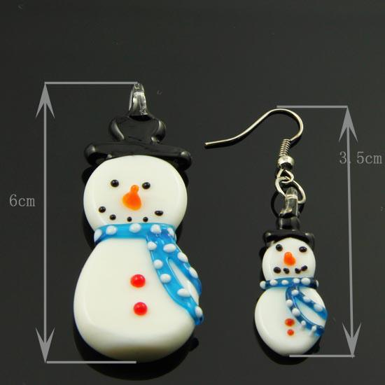 2013 Snow man murano lampwork blown venetian glass necklaces pendants and earrings jewelry sets Mus032-