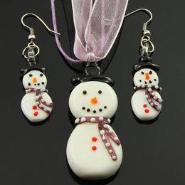 $enCountryForm.capitalKeyWord NZ - Snow man murano lampwork blown venetian glass necklaces pendants and earrings jewelry sets Mus032 cheap china fashion jewelry