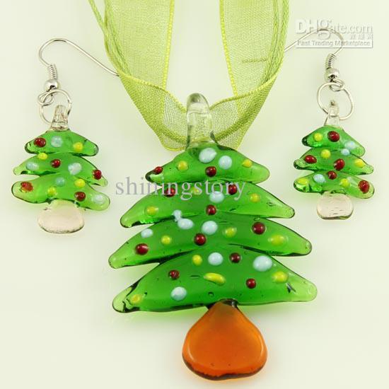 Neue Weihnachten lampwork geblasen venezianischen murano glas anhänger halsketten und ohrringe schmuck sets günstige modeschmuck Mus039