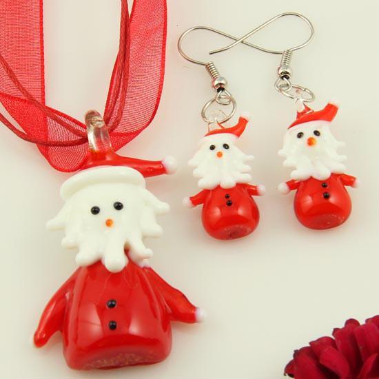 Santa Claus lampwork blown venetian murano glass handmade pendants necklaces and earrings jewelry sets fashion jewelry in bulk Mus039