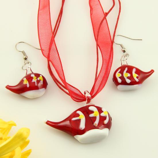 Muranoglas-Anhängerhalsketten aus Murano-Glas und geblasenes Halsschmuck aus Murano-Glas und Ohrschmuck-Sets handmadefashion-Schmucksachen, die Mus039 sind