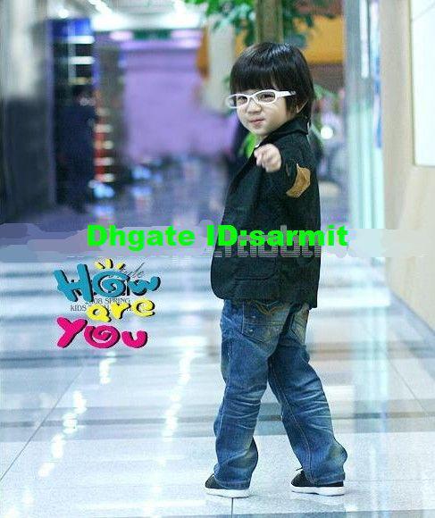 / Partihandel 3T - 10 år Blå Bomullspojkar Passar Boys Outwear 100 110 120 130 140 Pojkar Casual Blazer Kids Blazer Boys Baby Blazer