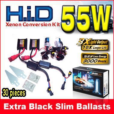 10 Takım 12 V 55 W Siyah Ince Balastlar HID Xenon Dönüşüm AC Kiti Tüm Tek Işın Renkleri H1 H3 H7 9004