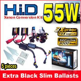 Discount xenon hid slim ballast ac - 5 Set 12V 55W Black Slim Ballasts AC HID Xenon Conversion Kit Single Beam H1 H3 H4 H7 9004 All Color
