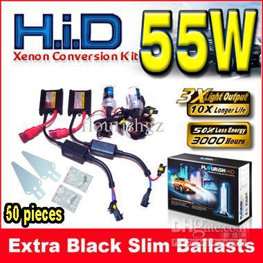 5 Takım 12 V 55 W Siyah Ince Balastlar AC HID Xenon Dönüşüm Kiti Tek Işın H1 H3 H4 H7 9004 Tüm Renk