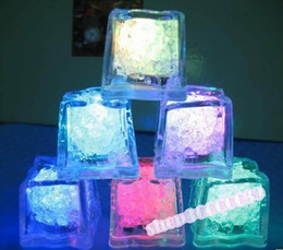 Wholesale Red Ice Cubes - 90pcs lot LED Ice Cubes Flash Light,wedding Party light ice,crystal Cube color flash,Christmas gifts