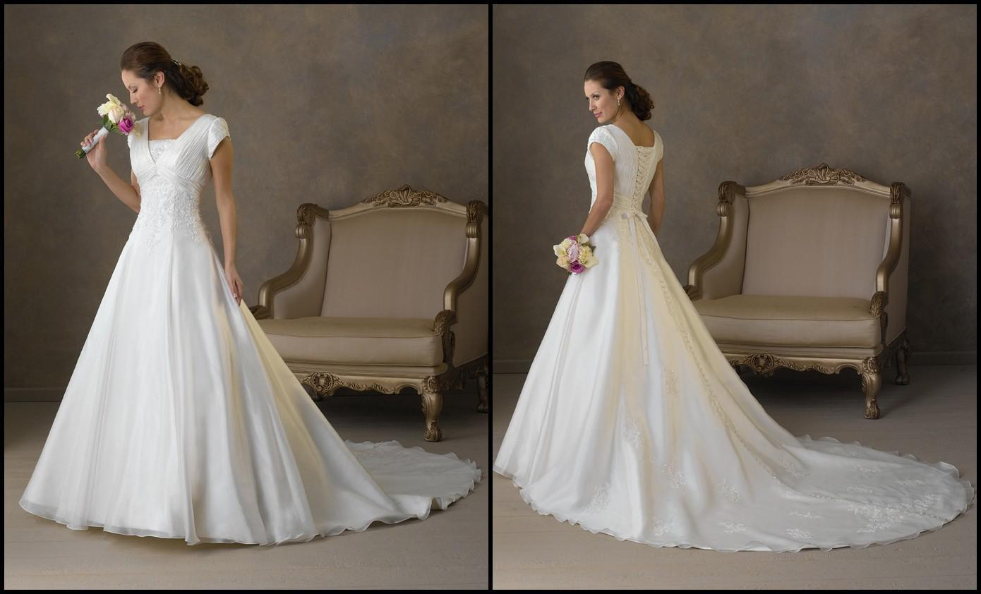 A Line Wedding Gown With Sleeves: Discount Custom Made 2012 A Line/Princess Cap Sleeve