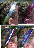Wholesale Stretch Sequin For Headbands - good 100pcs New Designs- 1'' sequin headbands mix color baby headbands for girl stretch