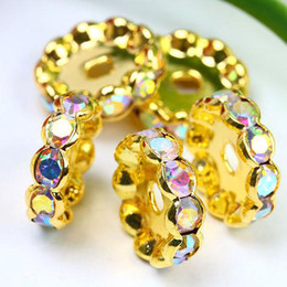 Wholesale Spacer Beads 12mm Rondelle - Free shipping 6 8 10 12mm AB Crystal Rondelle Gold Plated Spacer Beads 100pcs lot  Jewelry HOT