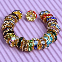 Wholesale Spacer Beads 12mm Rondelle - Free shipping 6 8 10 12mm Mixed Crystal Rondelle Gold Plated Spacer Beads 100pcs lot  Jewelry HOT